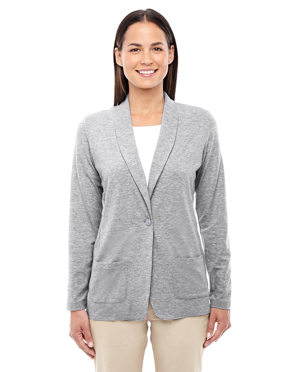 Grey Heather - DP462W Devon & Jones Ladies' Perfect Fit Shawl Collar Cardigan