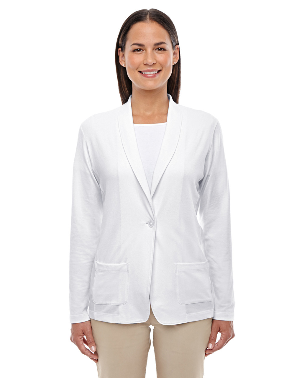White - DP462W Devon & Jones Ladies' Perfect Fit Shawl Collar Cardigan