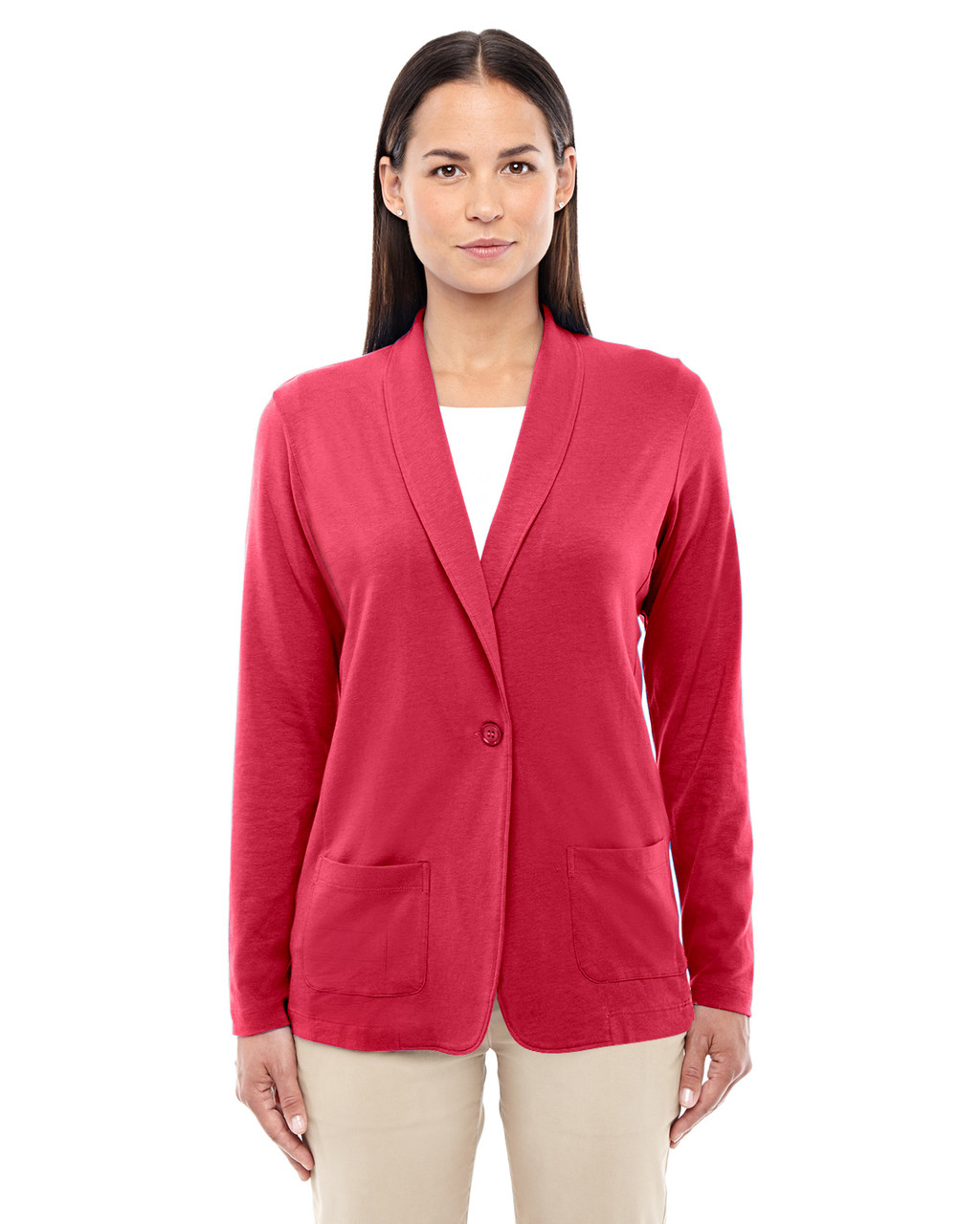 Red - DP462W Devon & Jones Ladies' Perfect Fit Shawl Collar Cardigan