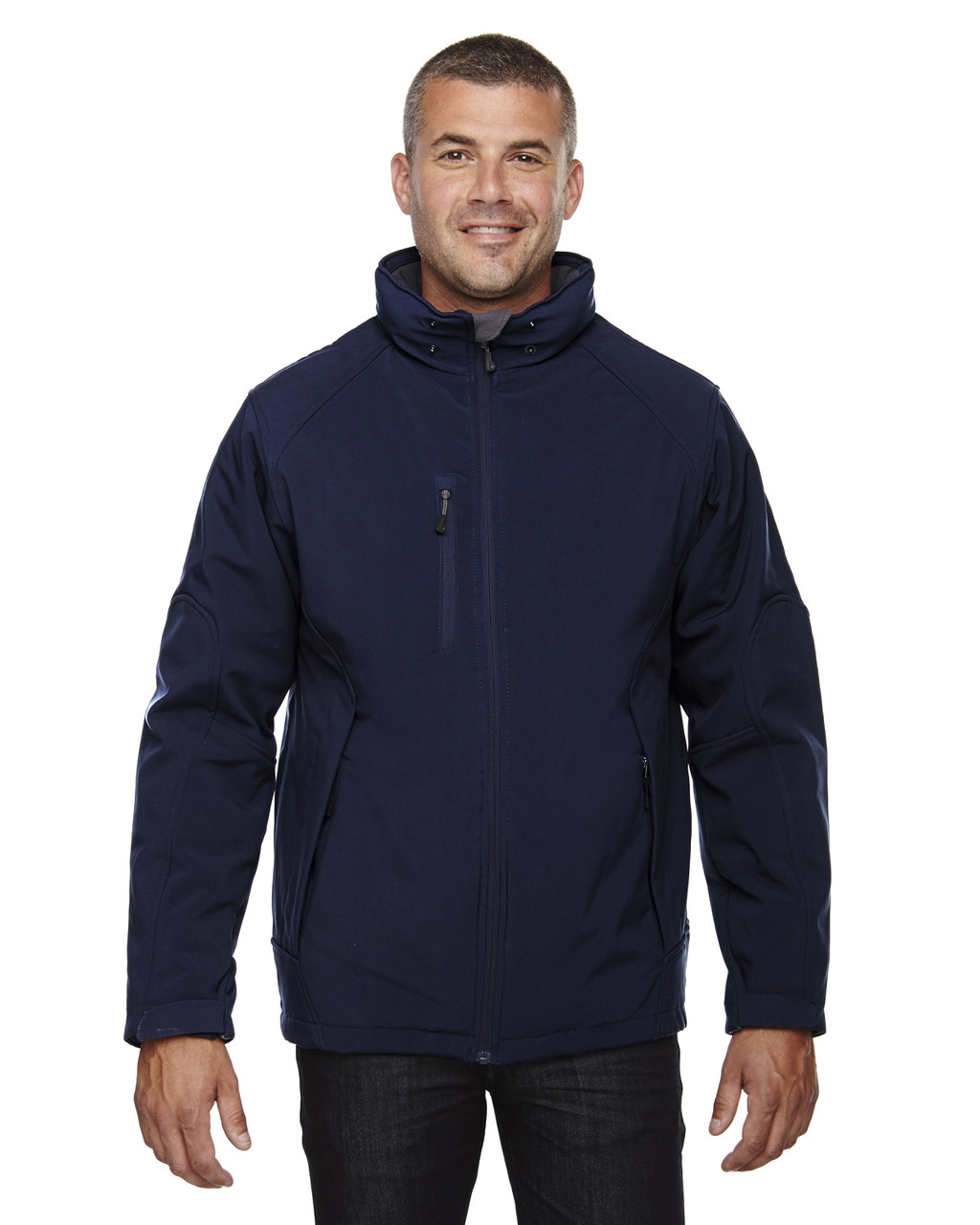 Classic Navy - 88159 North End Men's Insulated Soft Shell Jacket With Detachable Hood   Blankclothing.ca