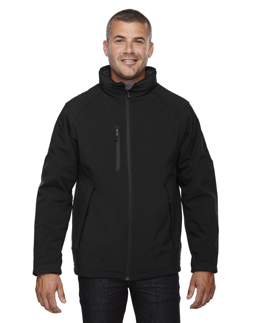 Black - 88159 North End Men's Insulated Soft Shell Jacket With Detachable Hood | Blankclothing.ca