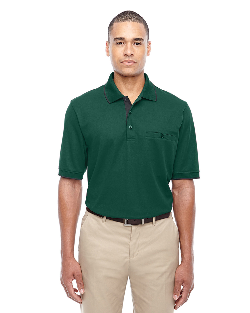 Forest 88222 Ash City - Core 365 Men's Motive Performance Pique Polo Shirt with Tipped Collar   Blankclothing.ca
