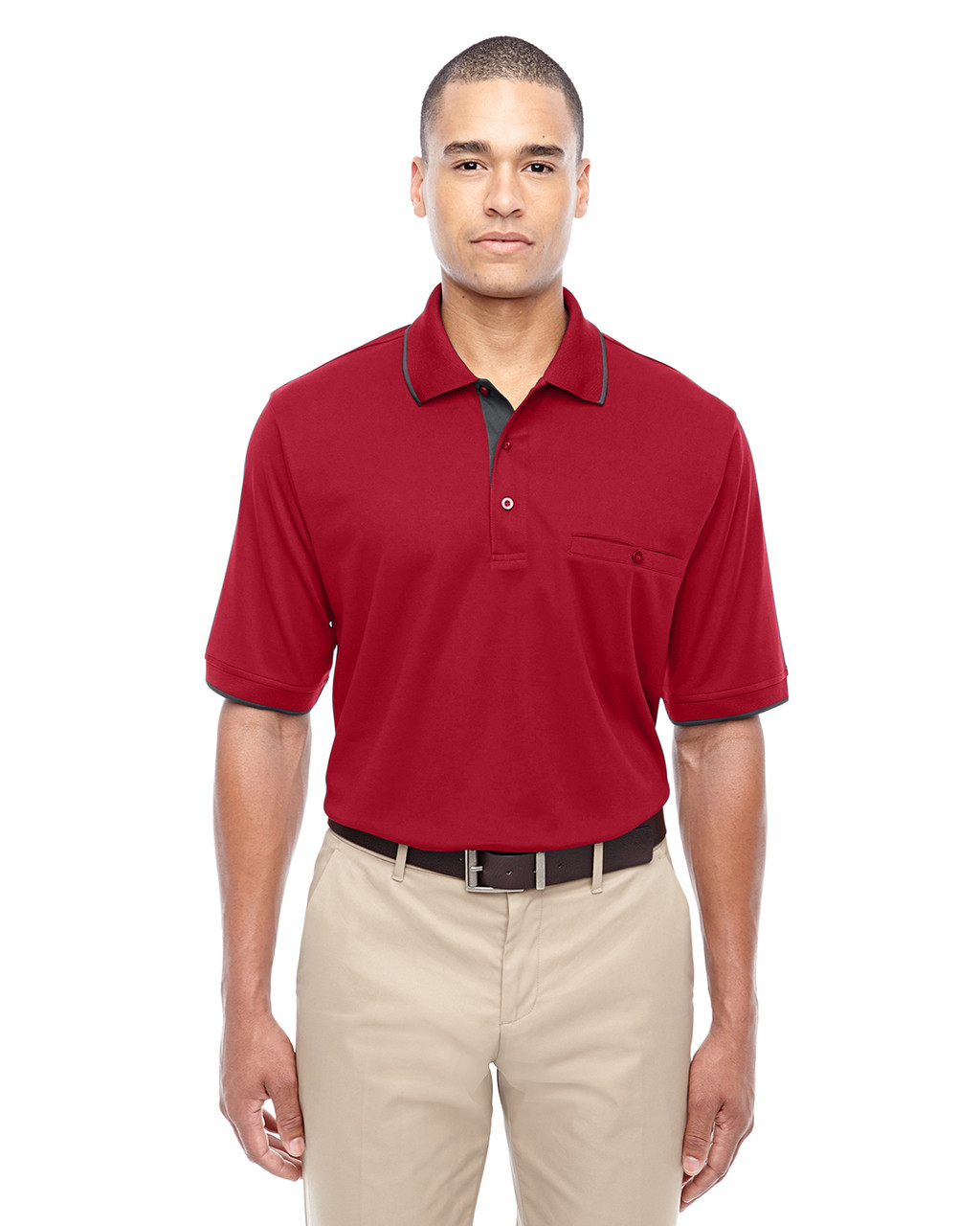 Classic Red 88222 Ash City - Core 365 Men's Motive Performance Pique Polo Shirt with Tipped Collar   Blankclothing.ca