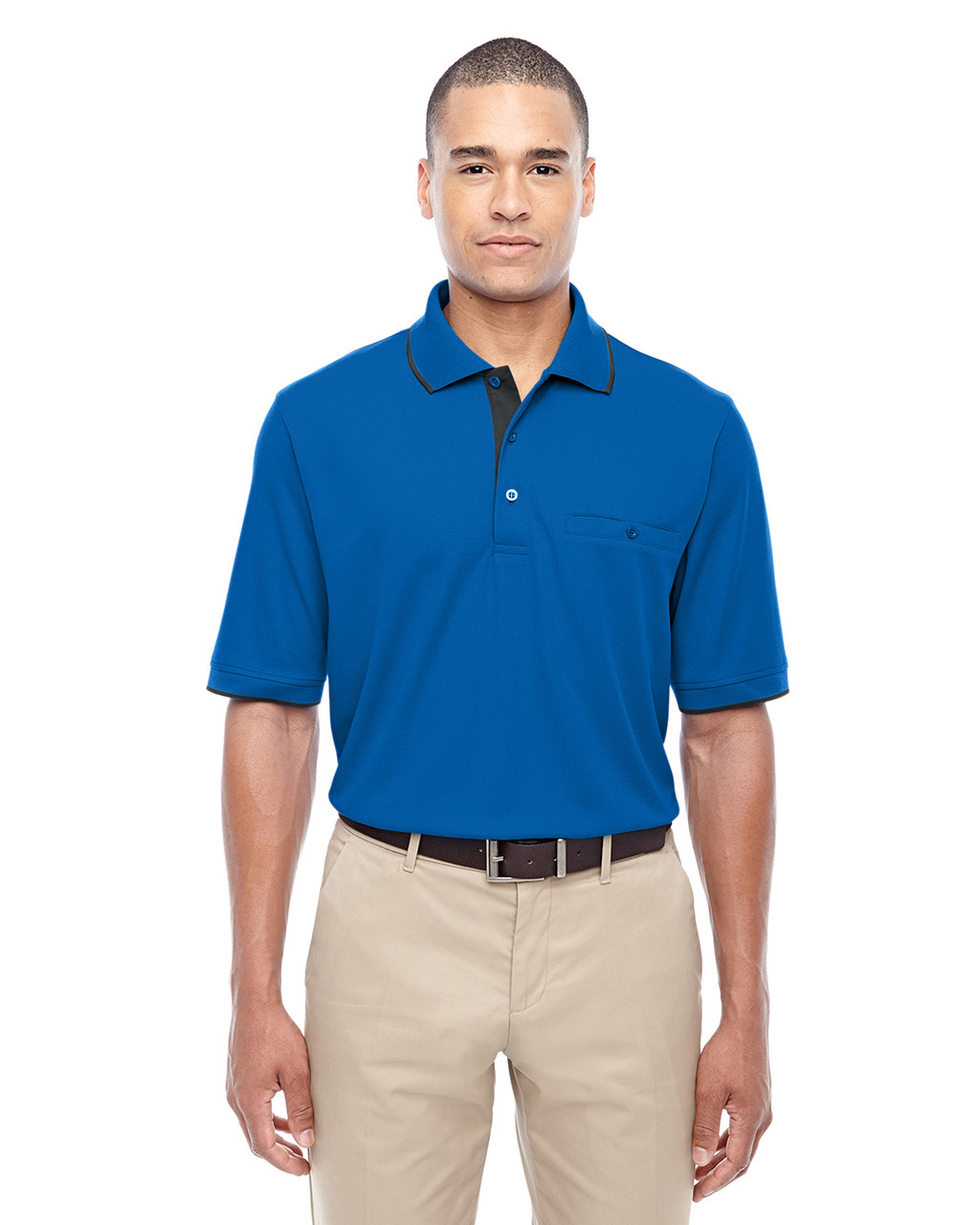 True Royal 88222 Ash City - Core 365 Men's Motive Performance Pique Polo Shirt with Tipped Collar   Blankclothing.ca