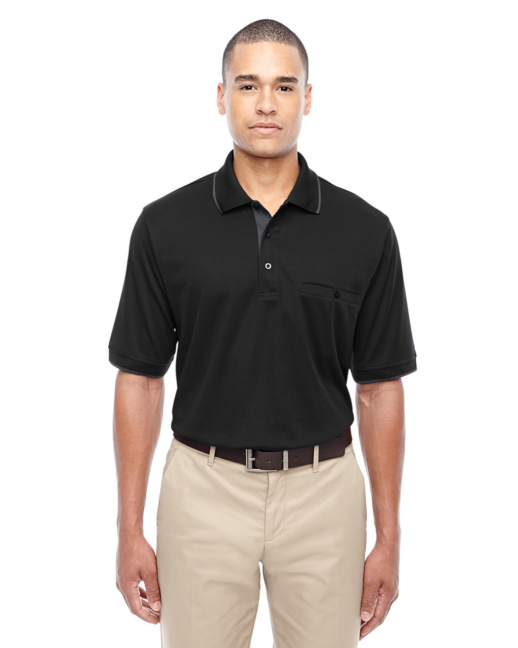 Black 88222 Ash City - Core 365 Men's Motive Performance Pique Polo Shirt with Tipped Collar   Blankclothing.ca