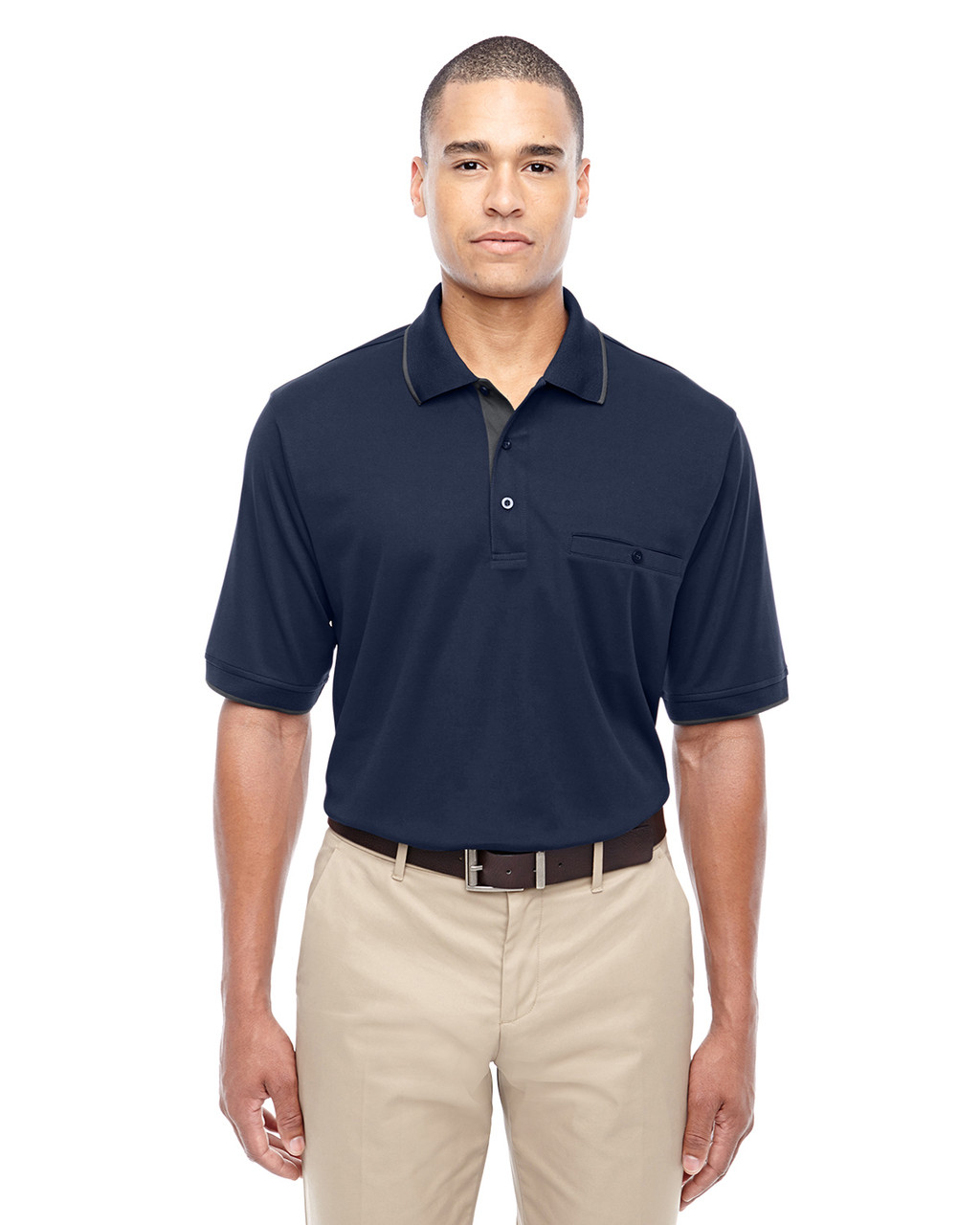 Classic Navy 88222 Ash City - Core 365 Men's Motive Performance Pique Polo Shirt with Tipped Collar   Blankclothing.ca