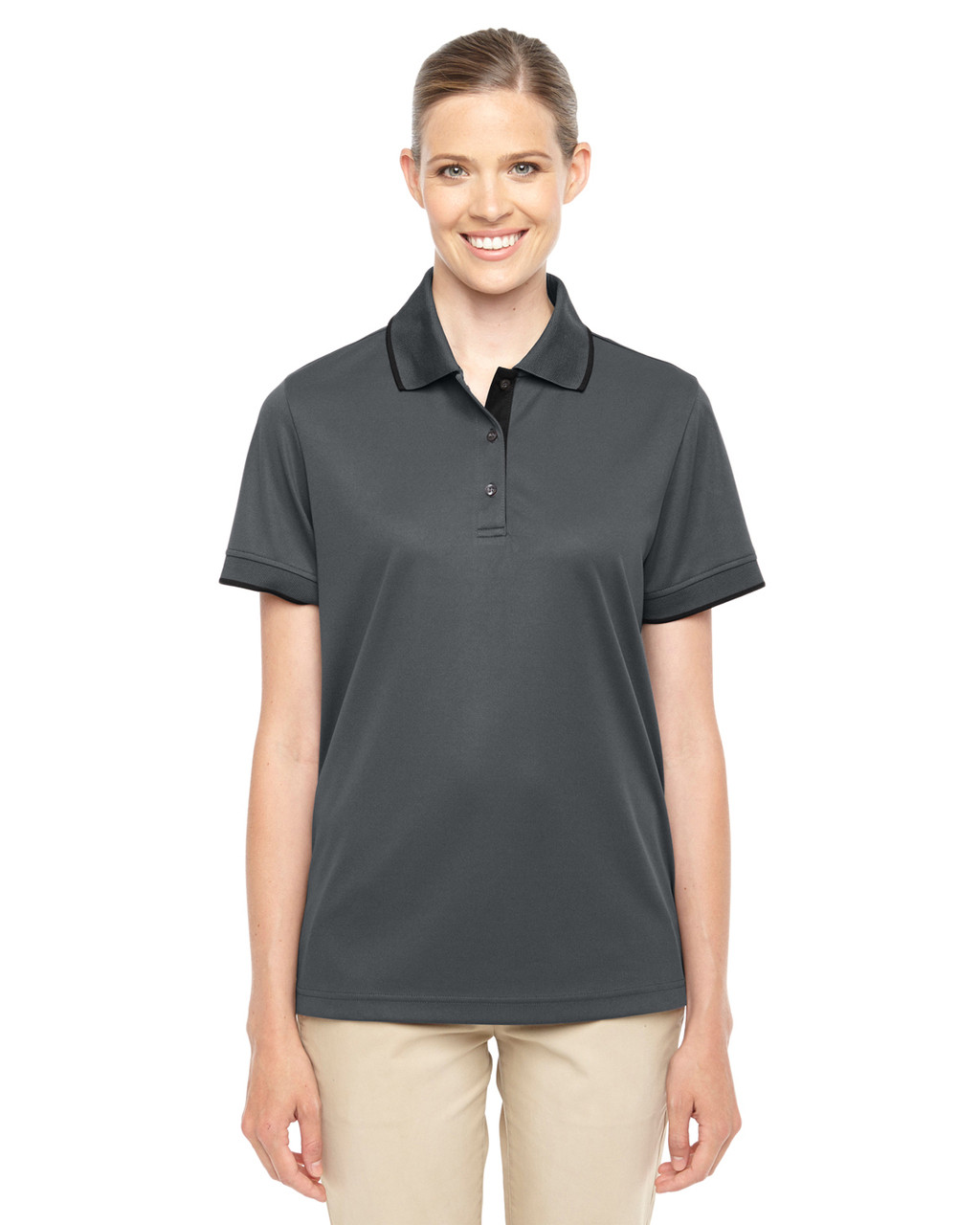 Carbon/Black 78222 Ash City - Core 365 Ladies' Motive Performance Pique Polo Shirt with Tipped Collar | Blankclothing.ca