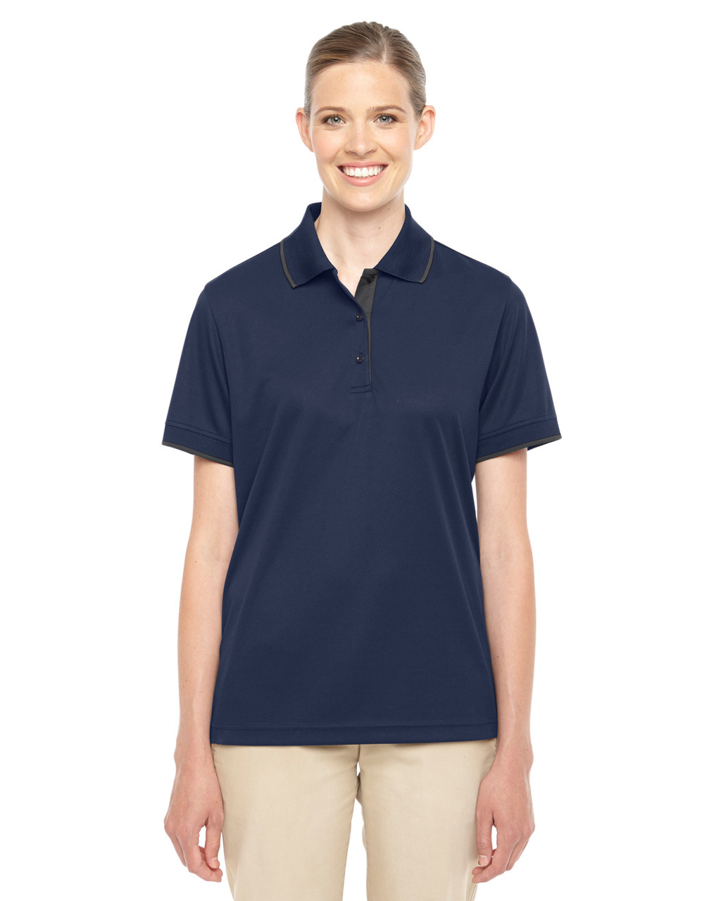 Classic Navy/Carbon - 78222 Ash City - Core 365 Ladies' Motive Performance Pique Polo Shirt with Tipped Collar | Blankclothing.ca