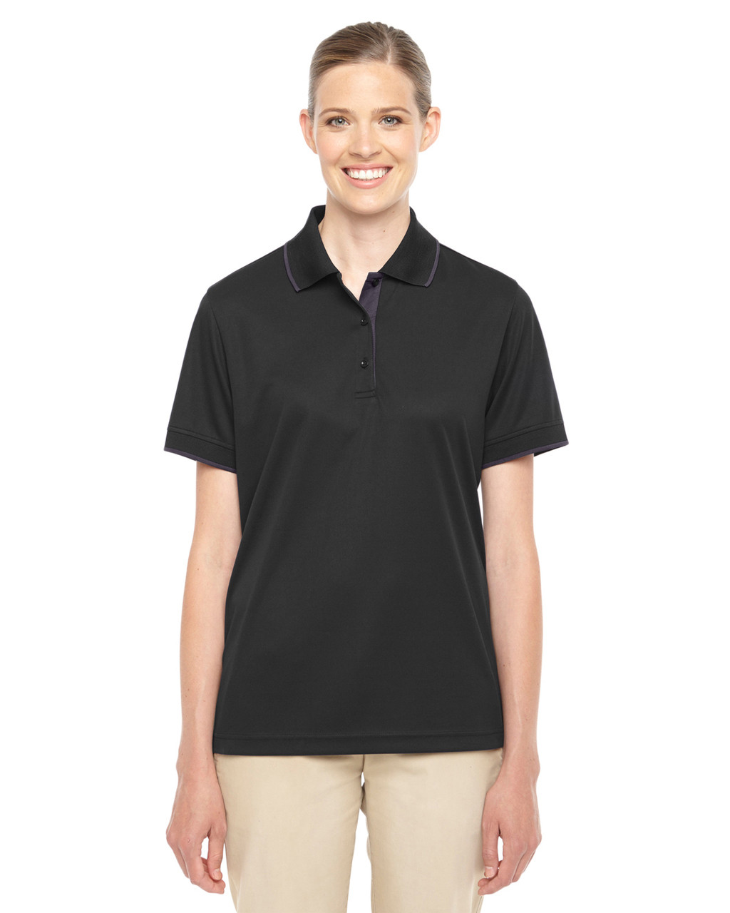 Black/Carbon 78222 Ash City - Core 365 Ladies' Motive Performance Pique Polo Shirt with Tipped Collar | Blankclothing.ca