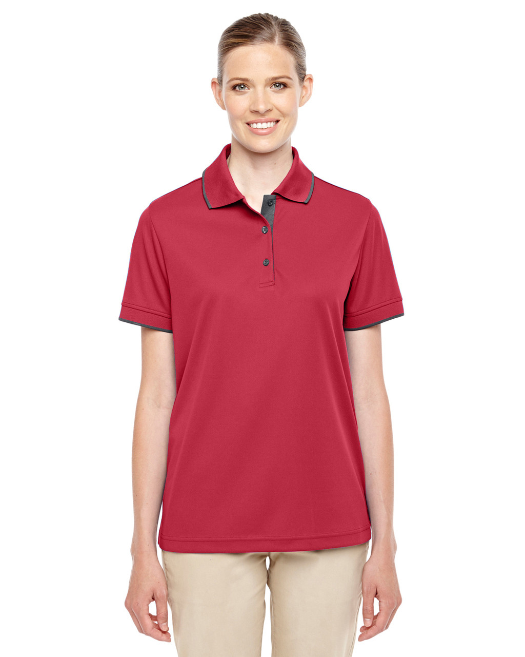 Classic Red/Carbon - 78222 Ash City - Core 365 Ladies' Motive Performance Pique Polo Shirt with Tipped Collar | Blankclothing.ca