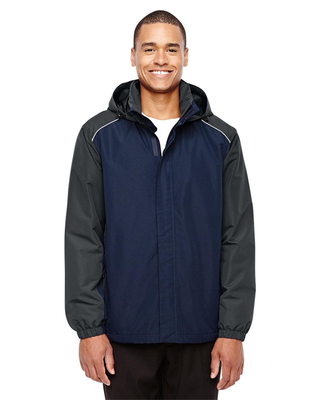 Classic Navy/Carbon - 88225 Ash City - Core 365 Men's Inspire Colorblock All-Season Jacket | Blankclothing.ca
