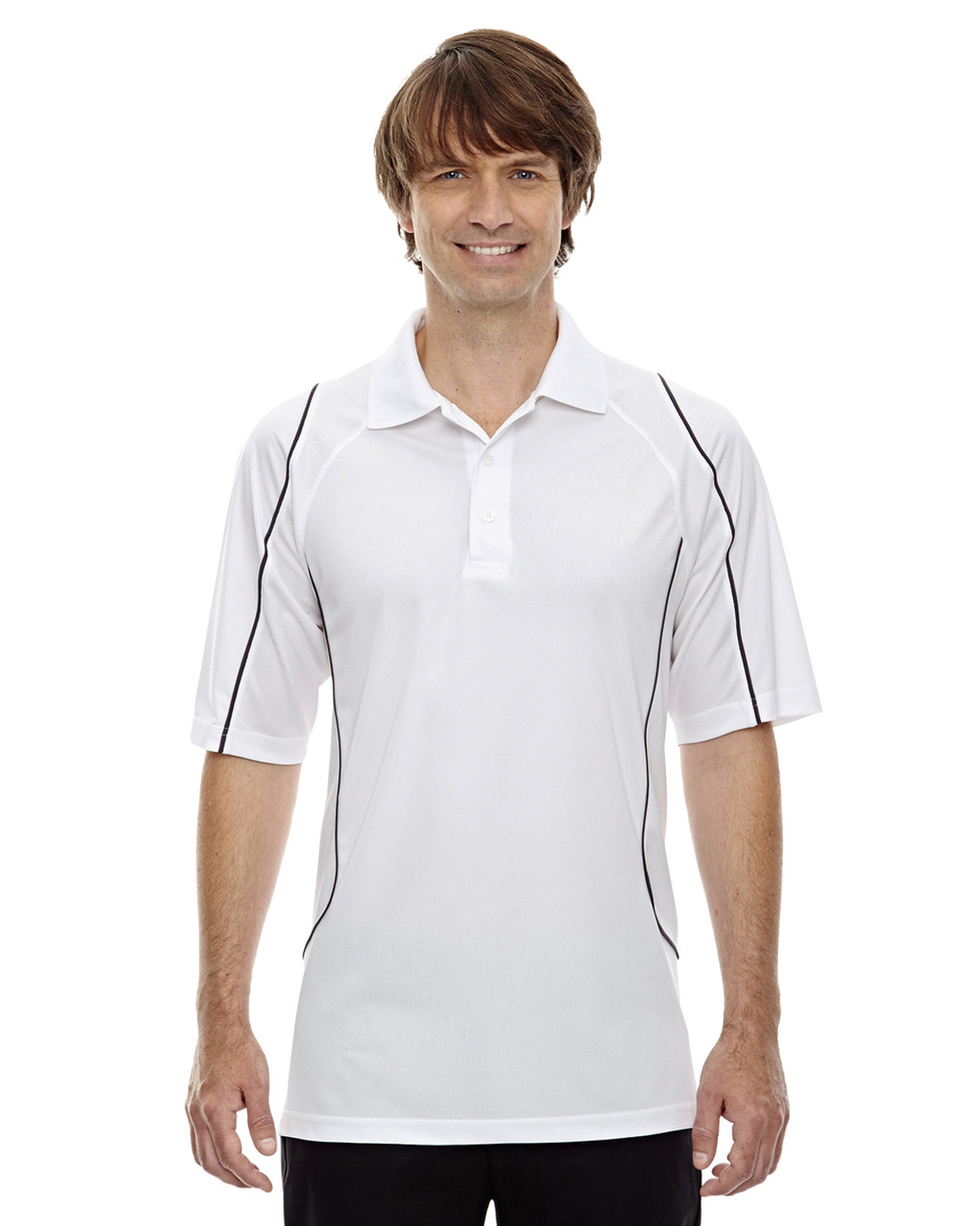 White - 85107 Ash City - Extreme Eperformance Men's Velocity Polo Shirt with Piping