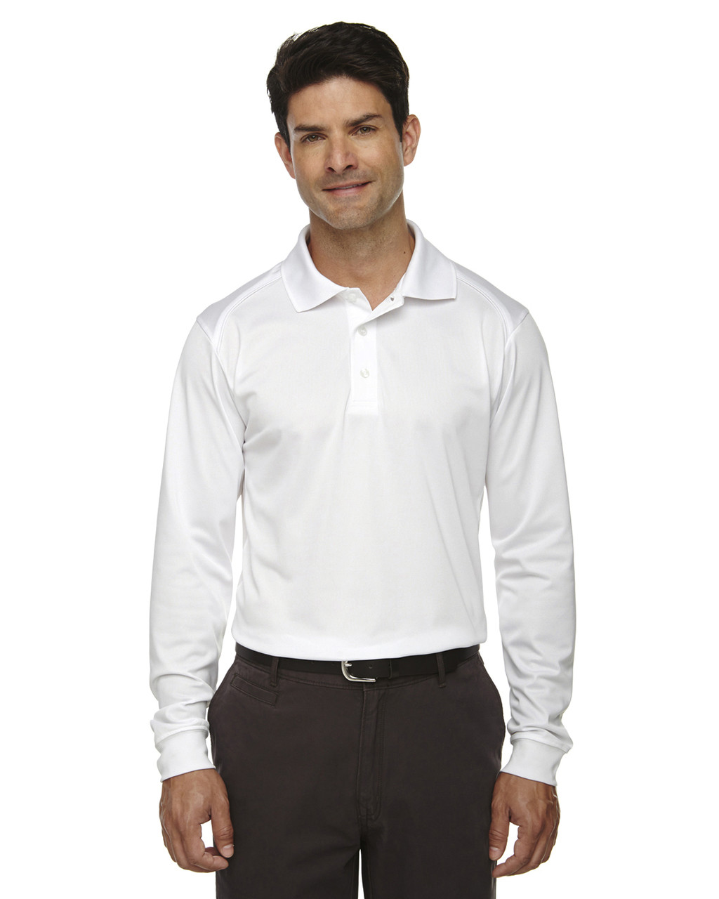 White - 85111 Ash City - Extreme Eperformance Men's Long-Sleeve Polo Shirt