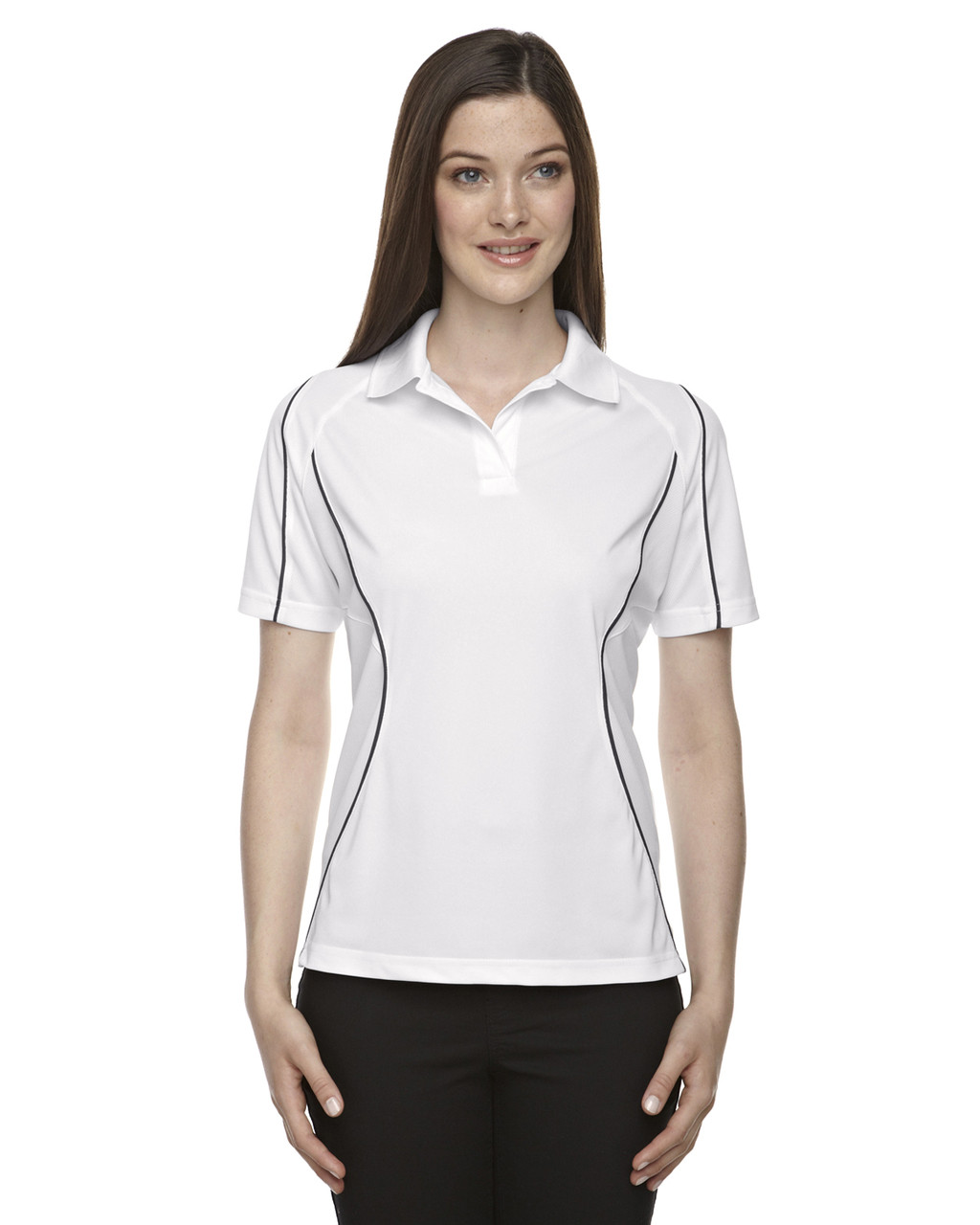 White 75107 Ash City - Extreme Eperformance Ladies' Velocity Colourblock Polo Shirt with Piping