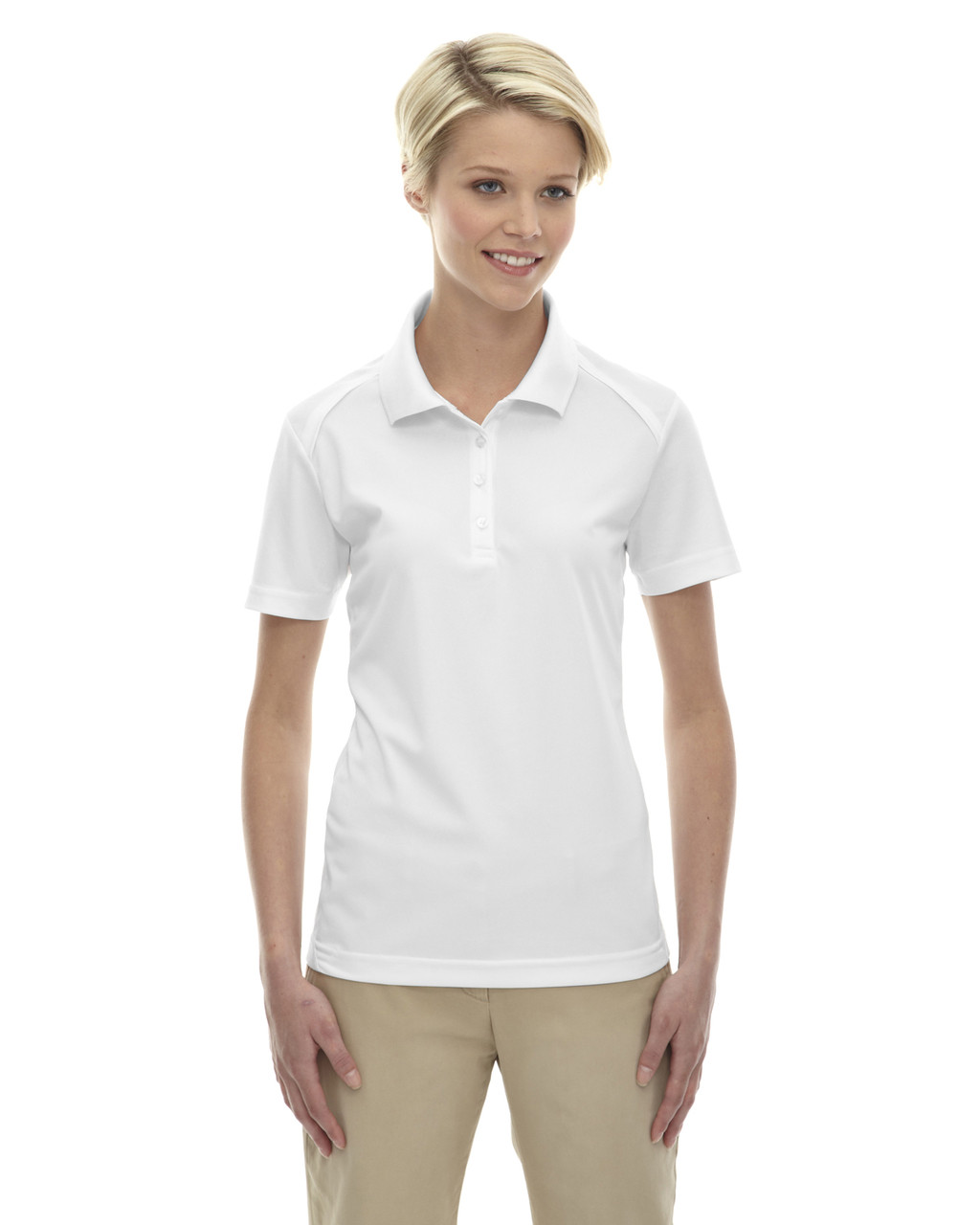 White 75108 Ash City - Extreme Eperformance Ladies' Shield Short-Sleeve Polo Shirt