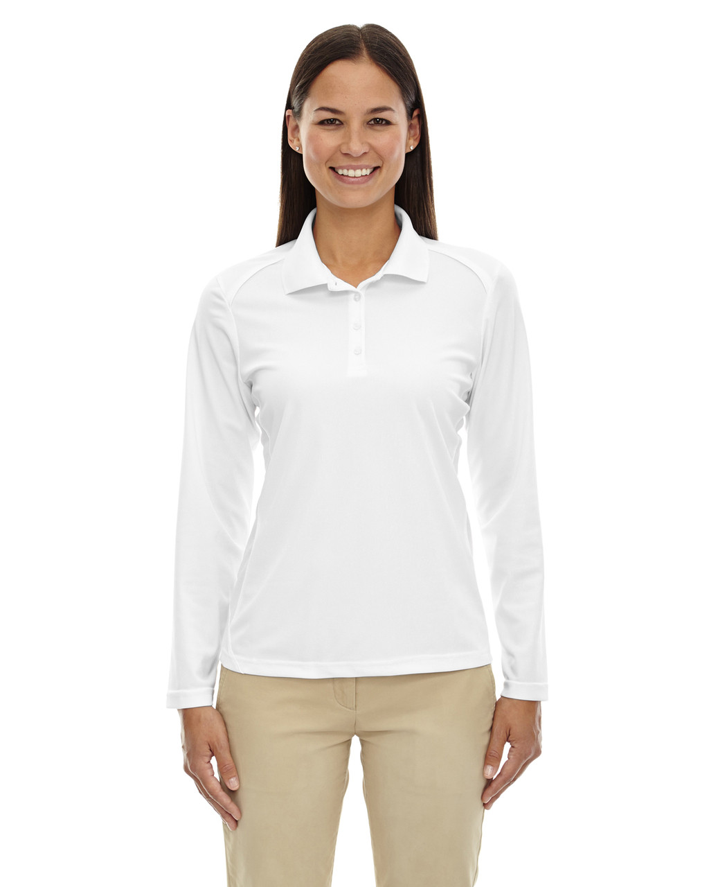 White - 75111 Ash City - Extreme Eperformance Ladies' Long-Sleeve Polo Shirt | BlankClothinkg.ca