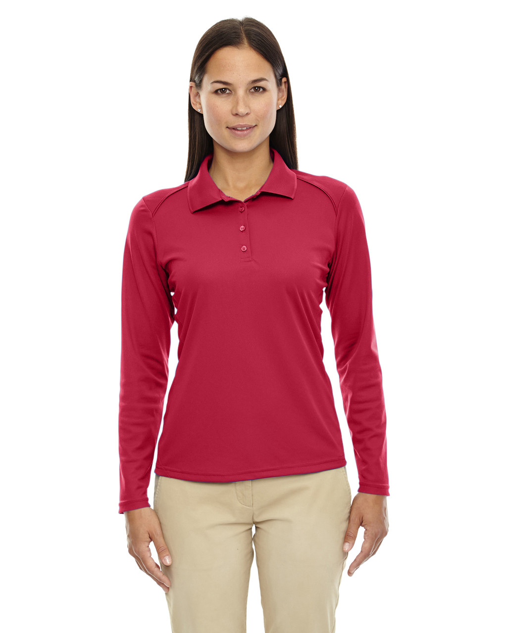 Classic Red - 75111 Ash City - Extreme Eperformance Ladies' Long-Sleeve Polo Shirt | BlankClothinkg.ca