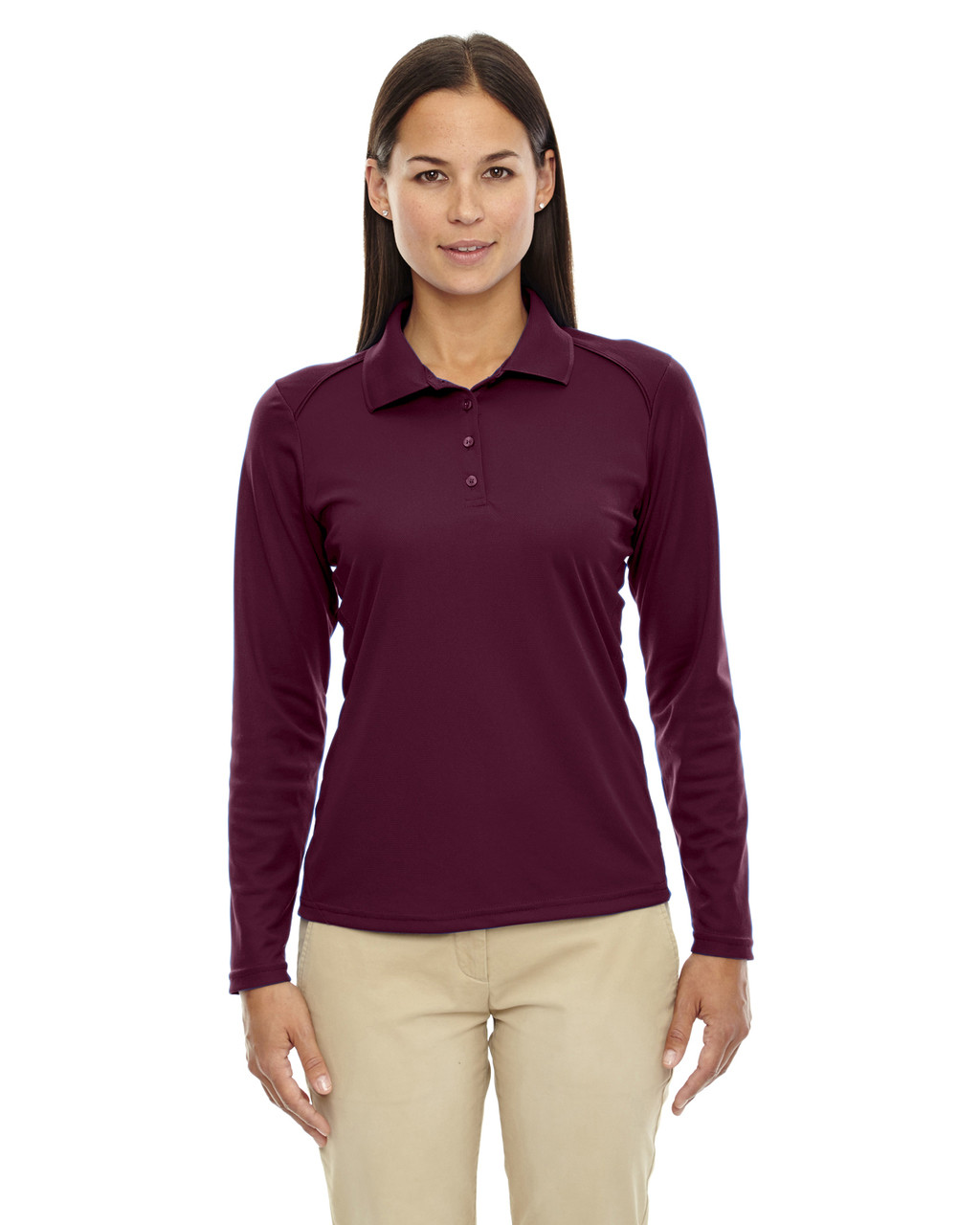 Burgundy - 75111 Ash City - Extreme Eperformance Ladies' Long-Sleeve Polo Shirt | BlankClothinkg.ca
