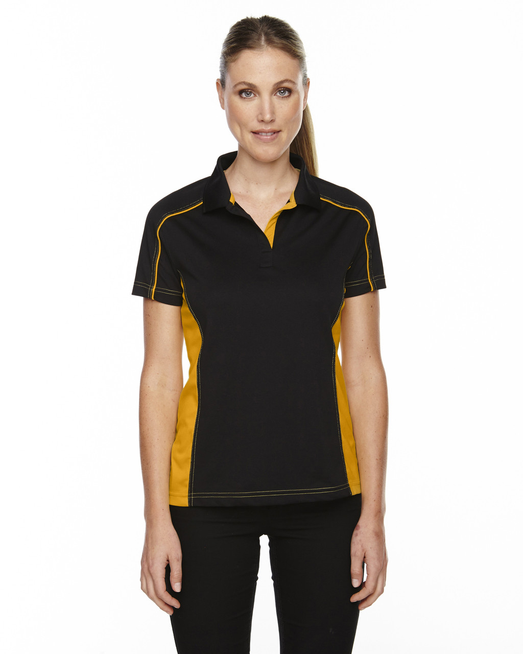 Black/Campus Gold - 5113 Ash City - Extreme Eperformance Ladies' Fuse Plus Colourblock Polo Shirt | Blankclothing.ca