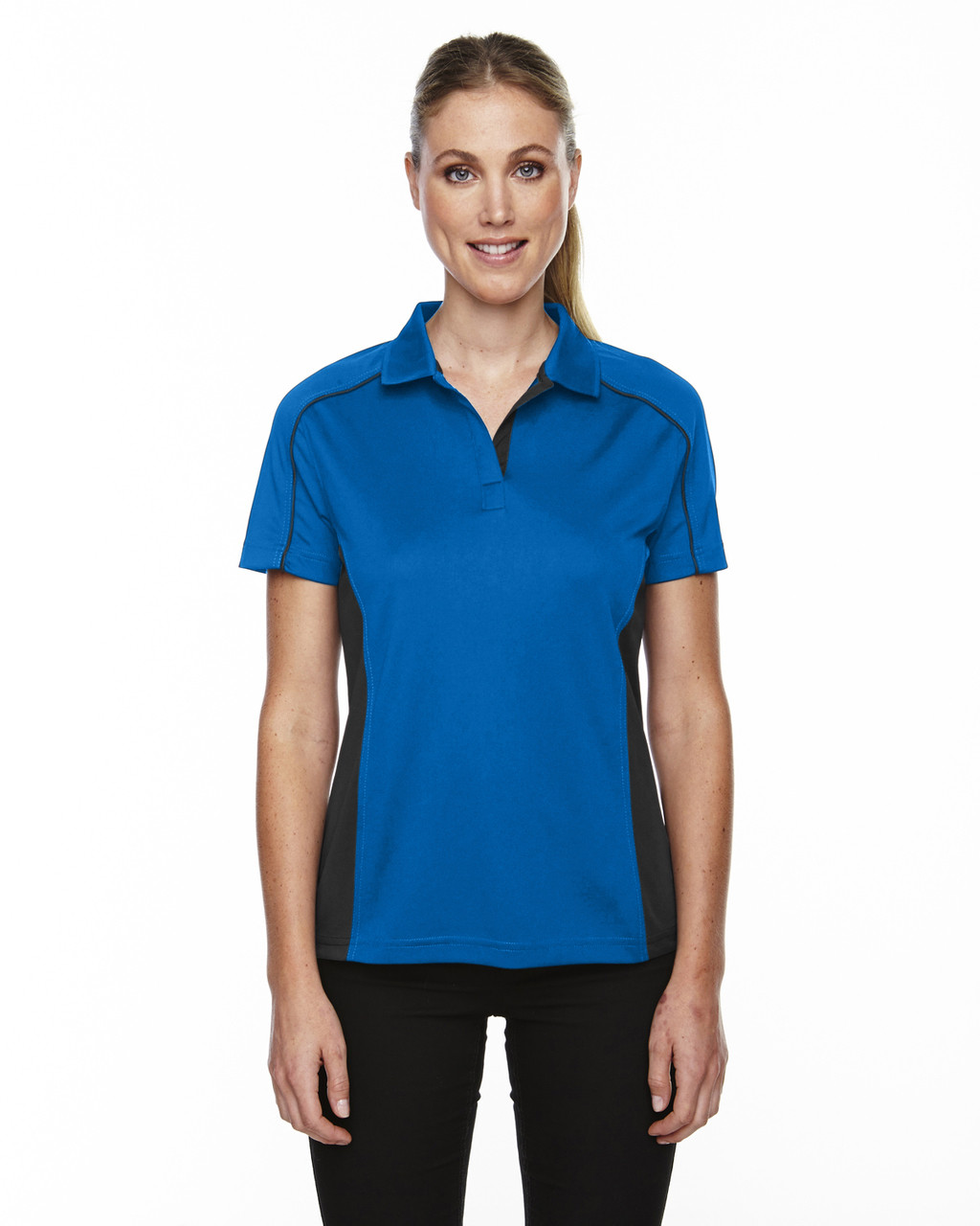 True Royal - 75113 Ash City - Extreme Eperformance Ladies' Fuse Plus Colourblock Polo Shirt | Blankclothing.ca