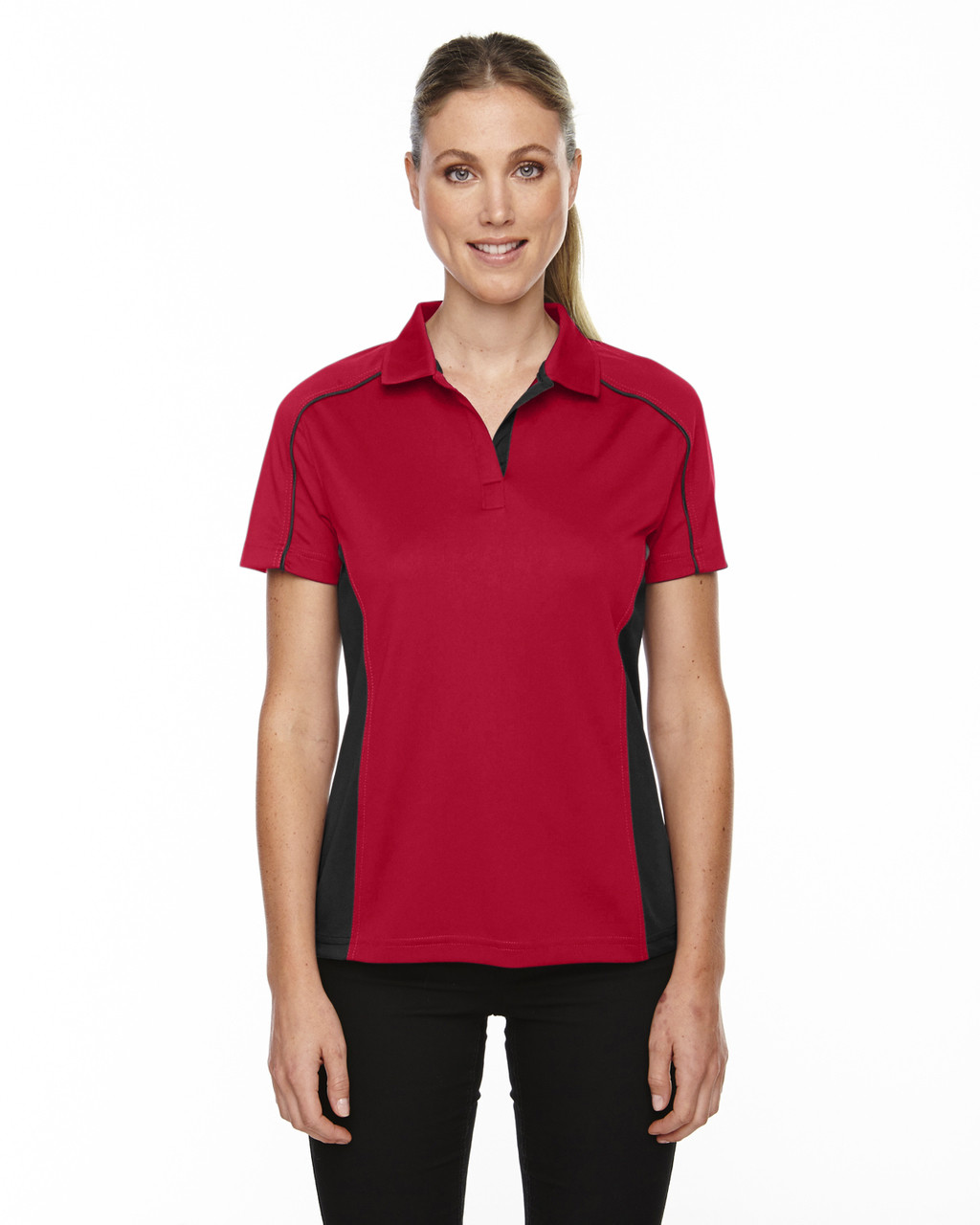 Classic Red - 75113 Ash City - Extreme Eperformance Ladies' Fuse Plus Colourblock Polo Shirt   Blankclothing.ca