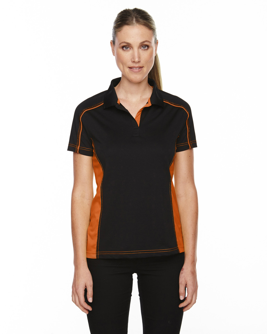 Black/Orange - 75113 Ash City - Extreme Eperformance Ladies' Fuse Plus Colourblock Polo Shirt | Blankclothing.ca