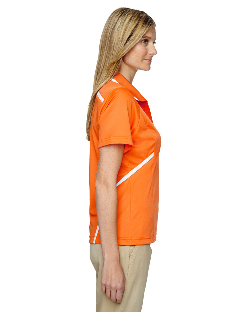 Amber Orange - Side, 75118 Ash City - Extreme Eperformance Propel Interlock Polo Shirt with Contrast Tape   BlankClothing.ca