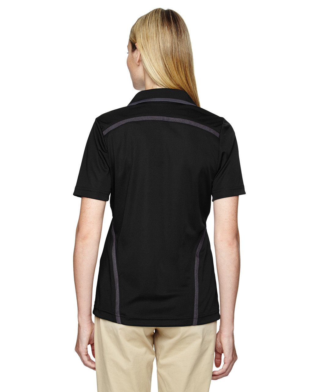 Black - Back, 75118 Ash City - Extreme Eperformance Propel Interlock Polo Shirt with Contrast Tape   BlankClothing.ca
