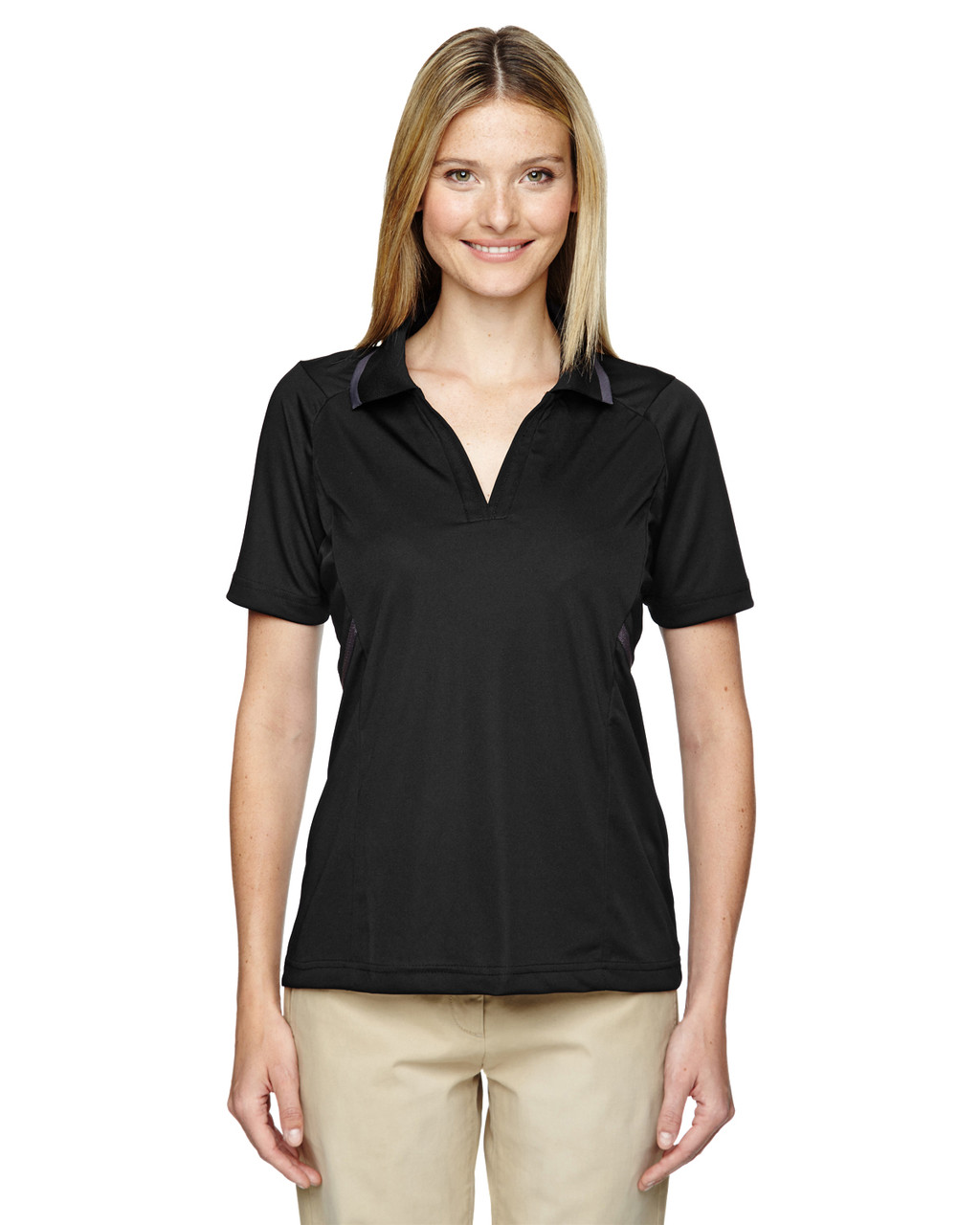 Black- 75118 Ash City - Extreme Eperformance Propel Interlock Polo Shirt with Contrast Tape   BlankClothing.ca