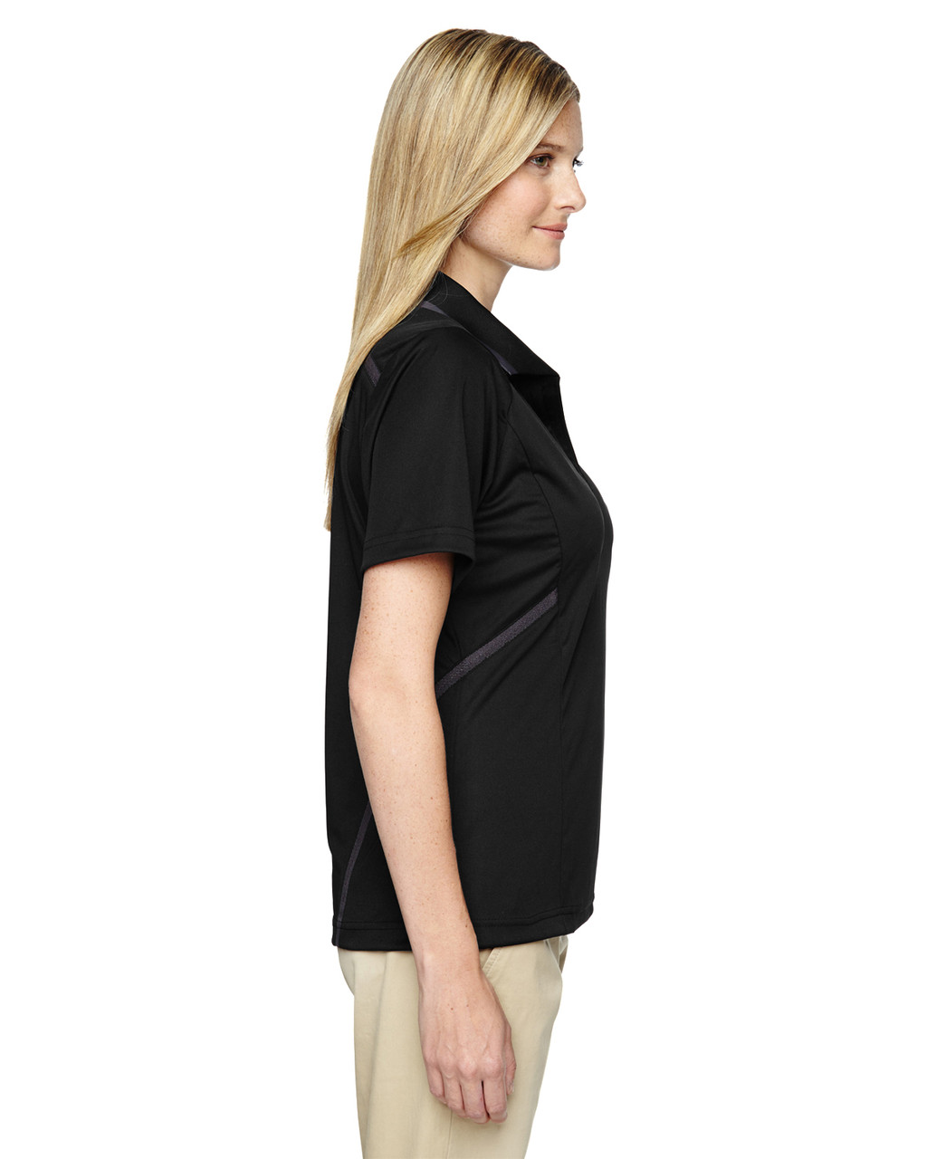 Black - Side, 75118 Ash City - Extreme Eperformance Propel Interlock Polo Shirt with Contrast Tape | BlankClothing.ca