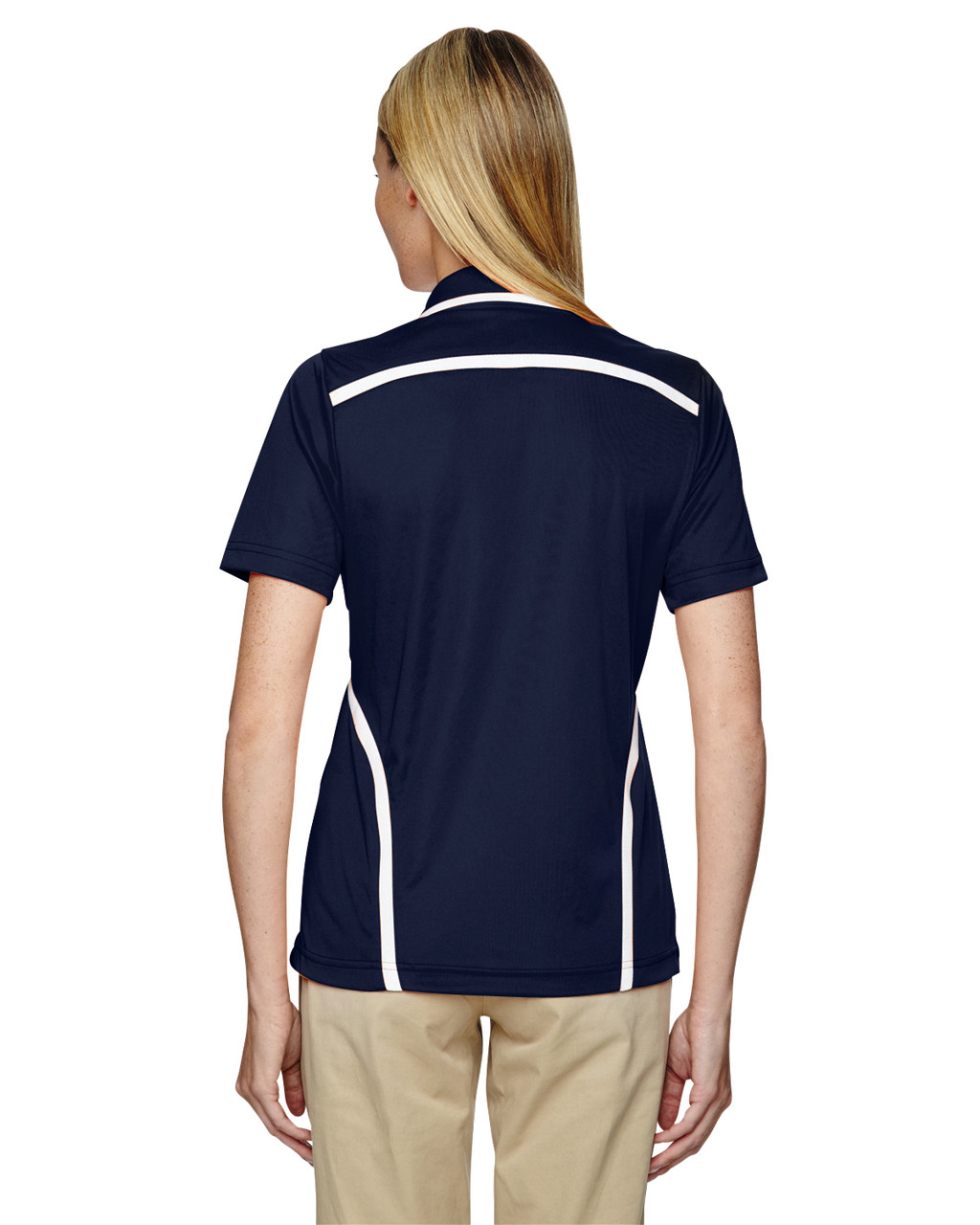 Classic Navy - Back, 75118 Ash City - Extreme Eperformance Propel Interlock Polo Shirt with Contrast Tape   BlankClothing.ca