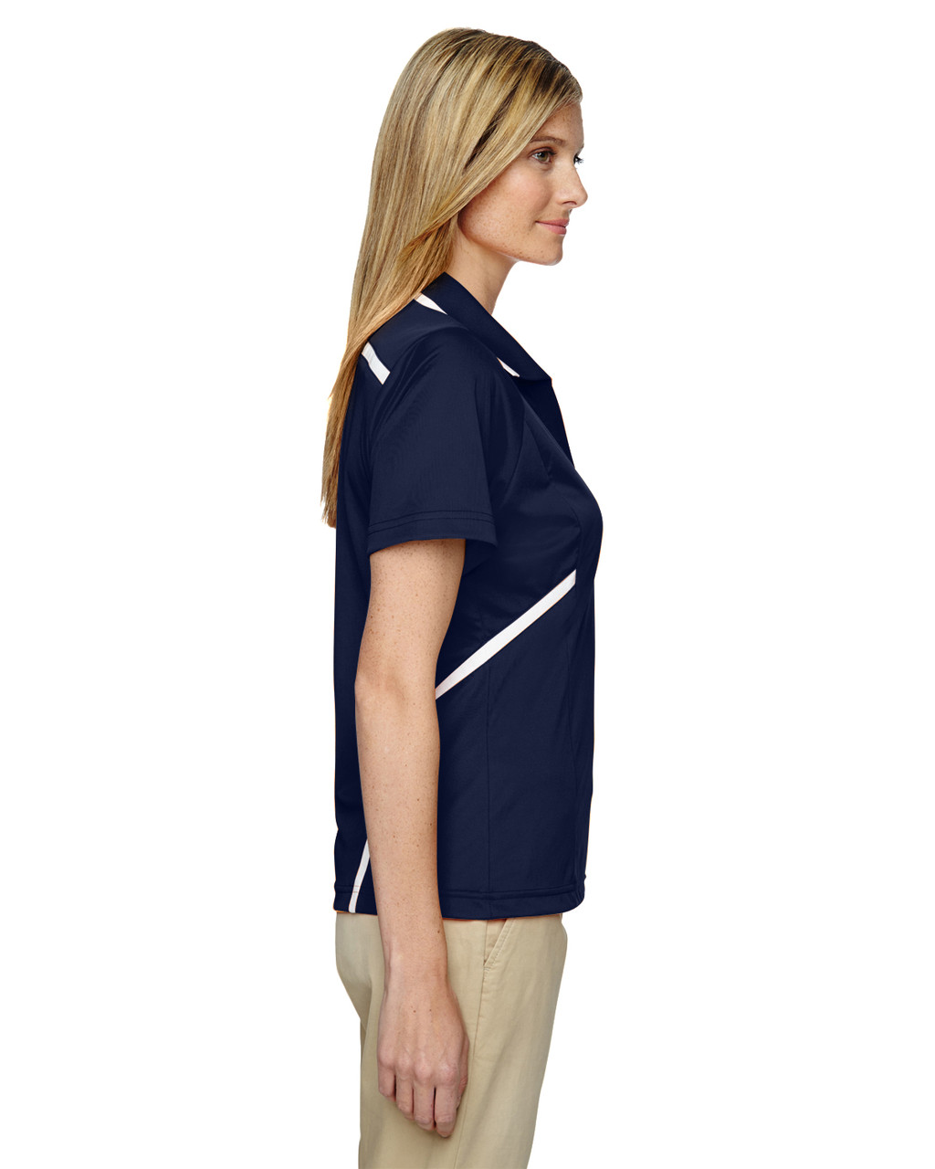Classic Navy - Side, 75118 Ash City - Extreme Eperformance Propel Interlock Polo Shirt with Contrast Tape   BlankClothing.ca
