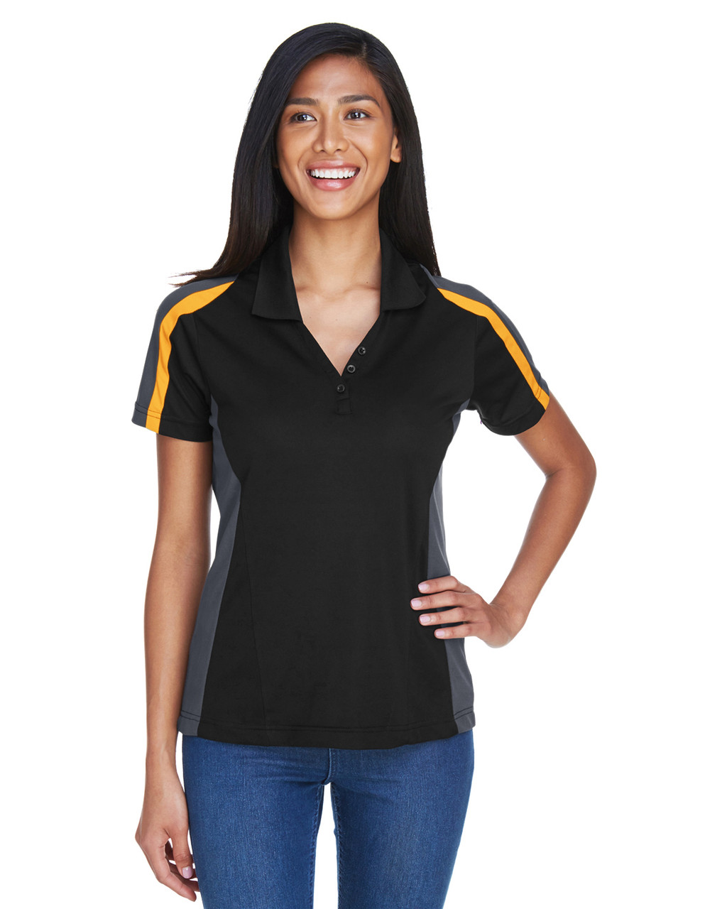 Black/ Campus Gold - 75119 Extreme Eperformance Ladies' Strike Protection Polo Shirt | BlankClothing.ca