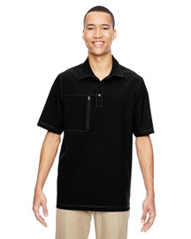 Black - 85120 North End Excursion Crosscheck Performance Woven Polo Shirt | Blankclothing.ca