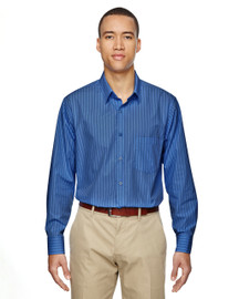 Deep Blue - 87044 North End Align Wrinkle-Resistant Cotton Blend Dobby Vertical Striped Shirt | Blankclothing.ca