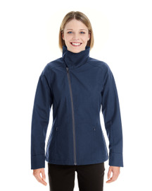 Navy - Front- NE705W Ash City - North End Ladies' Edge Soft Shell Jacket with Fold-Down Collar | Blankclothing.ca
