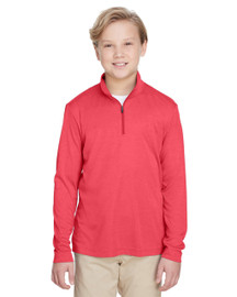 Sport Red Heather - TT31HY Team 365 Youth Zone Sonic Heather Performance Quarter-Zip Athletic Shirt | BlankClothing.ca