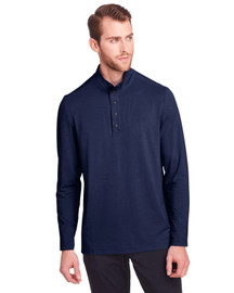 Classic Navy - NE400 North End Men's Jaq Snap-Up Stretch Performance Pullover Long Sleeve Shirt | BlankClothing.ca