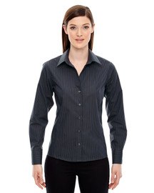 North End 78674 Ladies' Boardwalk Wrinkle-Free Two-Ply 80's Cotton Striped Tape Shirt | BlankClothing.ca