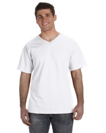 White - 39VR Fruit of the Loom 100% Heavy Cotton HD® V-Neck T-Shirt | Blankclothing.ca
