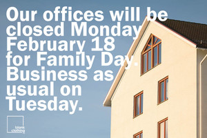 Offices are closed for B.C. Family Day: Monday February 18th