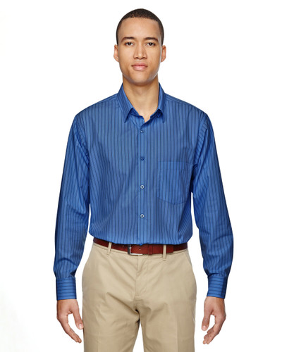 Deep Blue - 87044 North End Align Wrinkle-Resistant Cotton Blend Dobby Vertical Striped Shirt   Blankclothing.ca