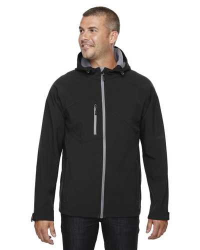 Black - 88166 North End Prospect Two-Layer Fleece Bonded Soft Shell Hooded Jacket | Blankclothing.ca