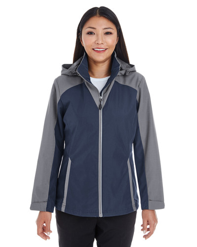 Navy/Graphite/Graphite - FRONT - NE700W Ash City - North End Ladies' Embark Colorblock Interactive Shell Jacket with Reflective Printed Panels   Blankclothing.ca
