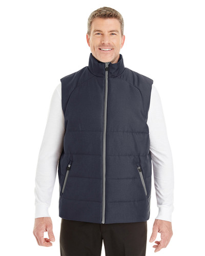 Navy/Graphite - FRONT - NE702 North End Men's Engage Interactive Insulated Vest | Blankclothing.ca