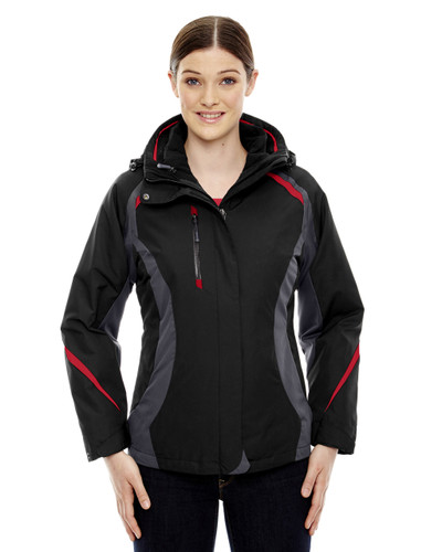 Black/Classic Red - 78195 Ash City - North End Ladies' Height 3-in-1 Jacket with Insulated Liner   Blankclothing.ca