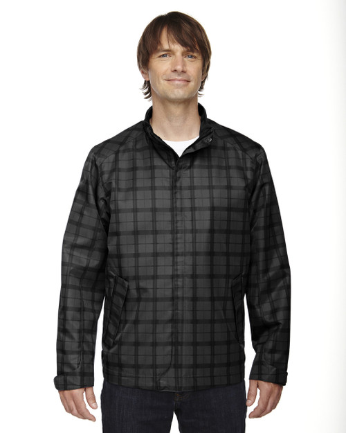 Black 88671 North End Sport Blue Locale Lightweight City Plaid Jacket | Blankclothing.ca