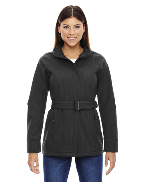 Carbon Heather 78801 North End Sport Blue Skyscape Textured Two-Tone Soft Shell Jacket | Blankclothing.ca