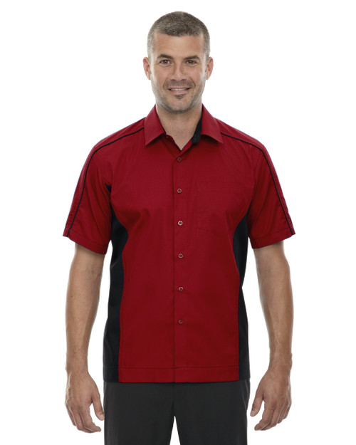 Classic Red - 87042T North End Tall Fuse Colourblock Twill Shirt | Blankclothing.ca