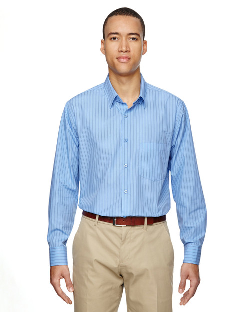Light Blue 87044 North End Align Wrinkle-Resistant Cotton Blend Dobby Vertical Striped Shirt | Blankclothing.ca